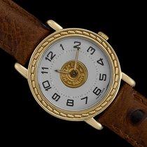 Hermès Sellier Gelbgold 24mm Weiß Arabisch