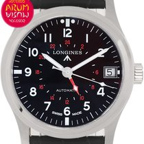 Longines Avigation pre-owned 44mm Black Date GMT Leather