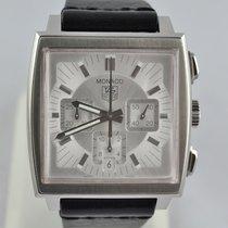 TAG Heuer Monaco brukt 38mm Sølv Kronograf Dato Lær
