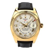 Rolex Yellow gold Automatic Silver Roman numerals 42mm pre-owned Sky-Dweller