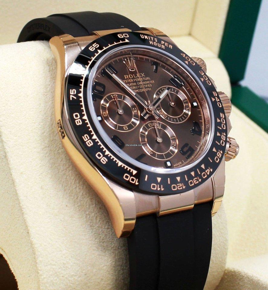 Rolex Daytona 116515ln 18k Rose Gold Chocolate Oysterflex B/P NEW