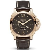 Panerai Luminor 1950 8 Days GMT Ouro rosa 44mm Castanho