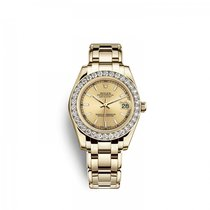 Rolex Yellow gold Automatic Champagne 34mm new Pearlmaster