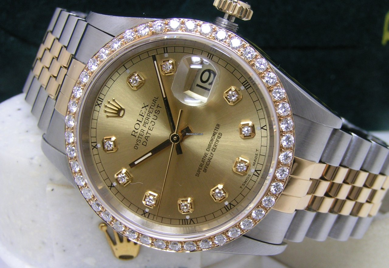 Rolex Men Datejust 36 Champagne Diamond Dial Ss 18kt Boxes Books