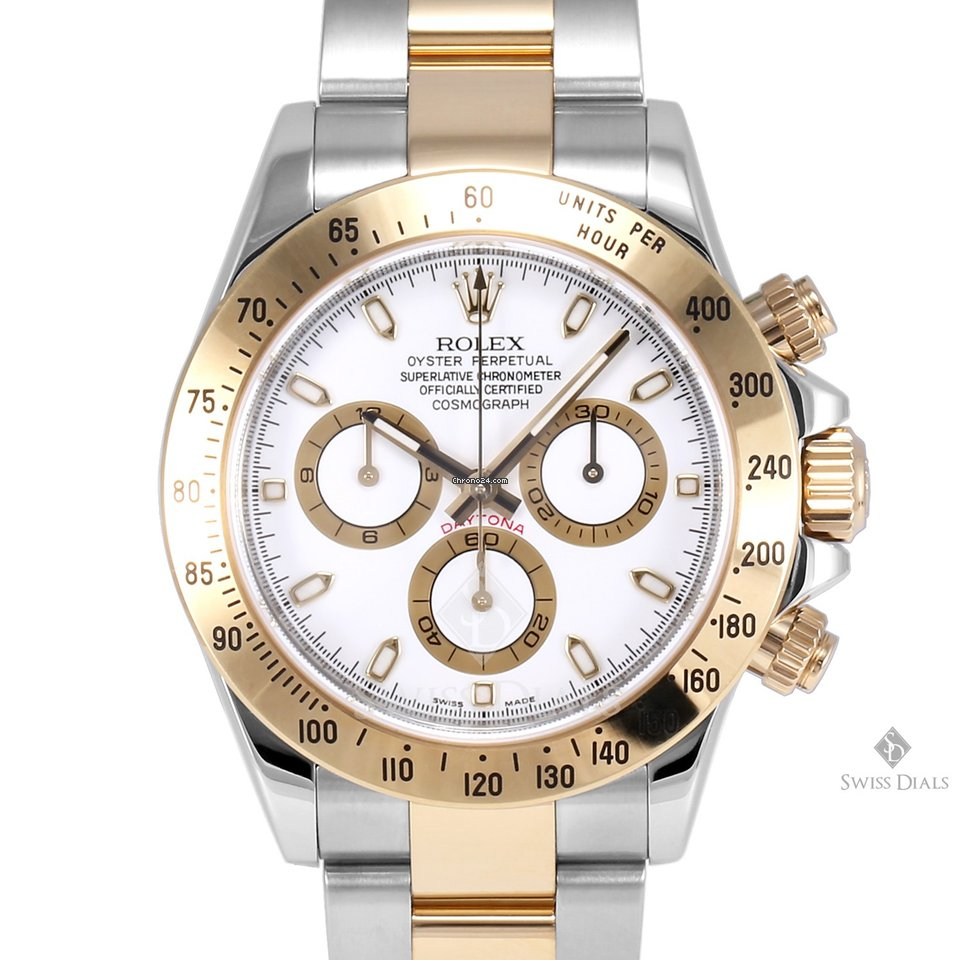Rolex Daytona Steel And Gold White Dial Tachymeter Engraved Bezel Oyster Band New Style