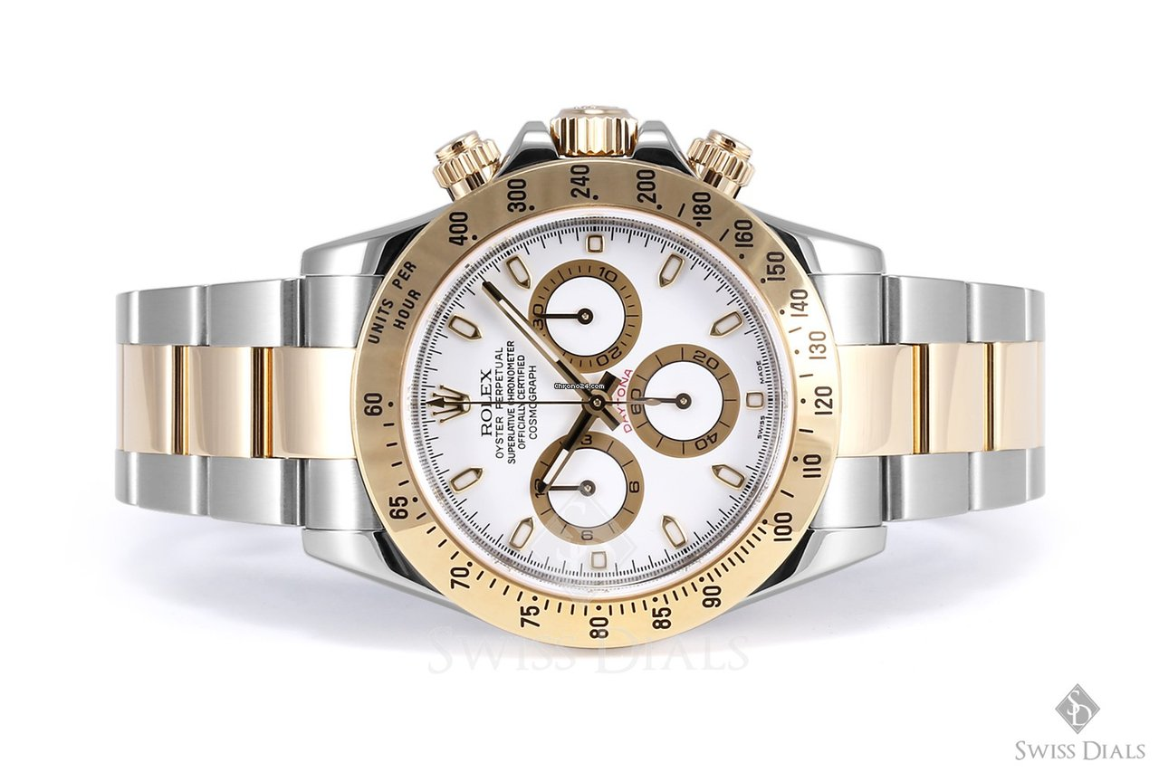 Rolex Daytona Steel And Gold White Dial Tachymeter Engraved For