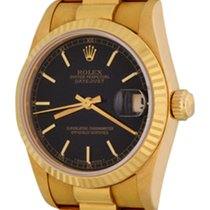 Rolex Yellow gold Automatic Black No numerals 30mm pre-owned Datejust
