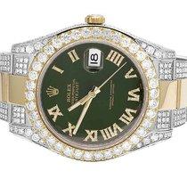 Rolex Mens Rolex Datejust II 41 MM 116333 18K Two 2 Tone Green...