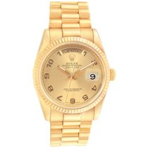 Rolex Or jaune Remontage automatique Champagne Arabes 36mm occasion Day-Date 36