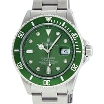 Rolex Stainless Steel Submariner 16610 MOP Green Diamond