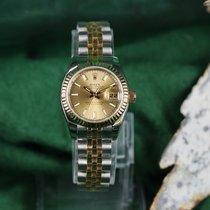 Rolex Lady-Datejust Zlato/Zeljezo 26mm Boja šampanjca
