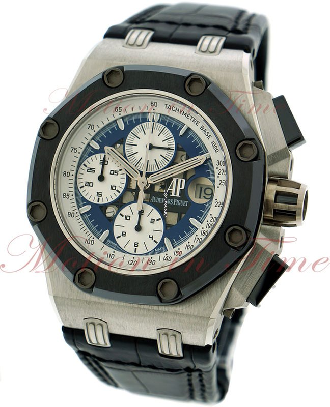 83842645565 Audemars Piguet Royal Oak Offshore Rubens Barrichello II, Blue Skeleton  Dial, Limited Edition to 150 Pieces - Platinum on Strap