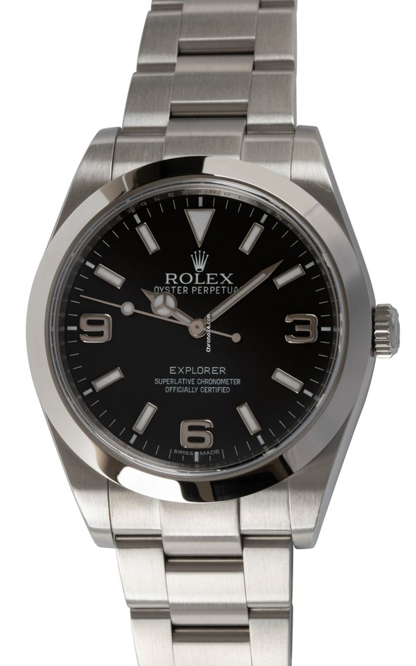 Steel Stainless Black Dial RolexExplorer 39mm 214270 kuPXZi