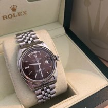 Rolex Steel Automatic Silver No numerals 36mm pre-owned Day-Date 36