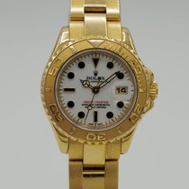 Rolex Yellow gold Automatic White No numerals 29mm pre-owned Yacht-Master