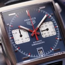 TAG Heuer Monaco Calibre 11 Blue Indexes Steel/Leather 39mm...
