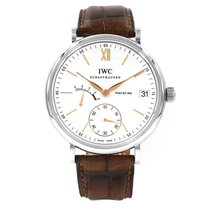 IWC Portofino Hand-Wound pre-owned 45mm Silver Date Crocodile skin