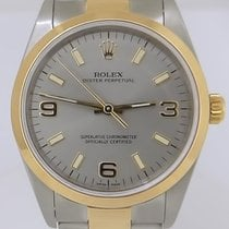 Rolex Two Tone 18k Gold Steel Oyster Perpetual Arabic Gray...