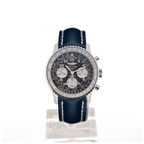 Breitling Navitimer Cosmonaute 43 Black Dial Blue Leather...