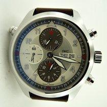 IWC Pilot Double Chronograph nuovo Automatico Cronografo Orologio con scatola e documenti originali IW371802 IWC Pilot's Acciaio Argento Pelle 44mm