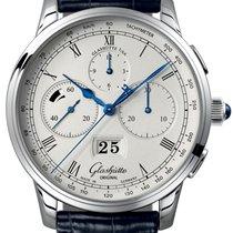 Glashütte Original Platinum Automatic Silver Roman numerals 41mm new Senator Chronograph Panorama Date