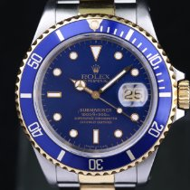 Rolex Submariner Date rabljen 40mm Plav-modar Datum, nadnevak Zlato/Zeljezo
