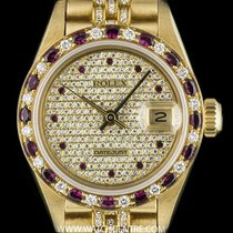 Rolex 18k Yellow Gold Ruby & Diamond Set Datejust Ladies...
