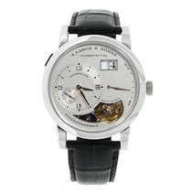 A. Lange & Söhne Lange 1 pre-owned 38.5mm Silver Tourbillon Date Crocodile skin