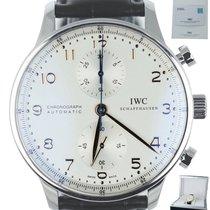 IWC Steel Automatic White Arabic numerals 40.9mm pre-owned Portuguese Chronograph