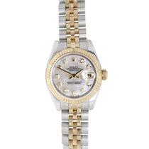Rolex 18K & Stainless Steel Diamond Dial Ladies Datejust 179173