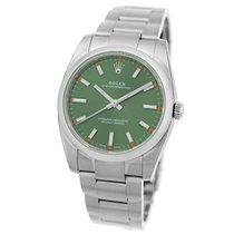 Rolex Stainless 34mm Oyster Perpetual Olive Green Dial 114200...