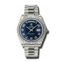 Rolex Day-Date II pre-owned 41mm Silver Date White gold