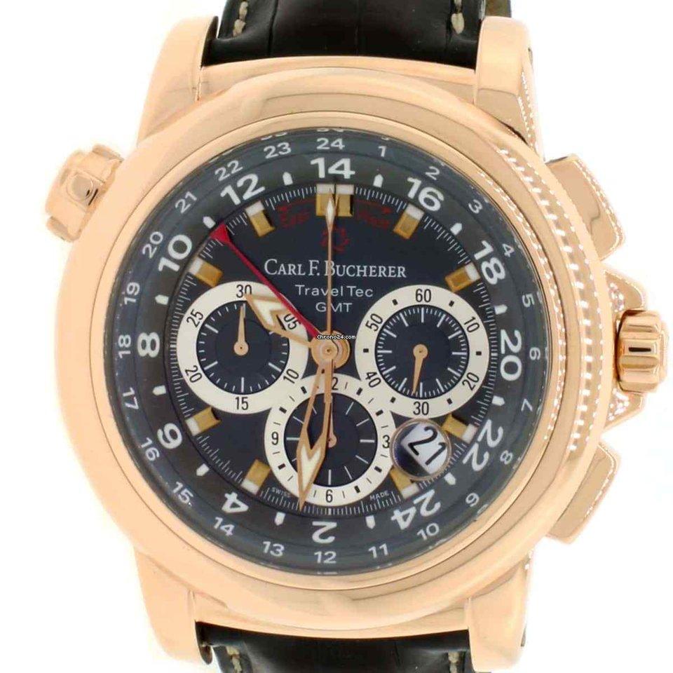 1d699f681e7 Carl F. Bucherer CARL Patravi TravelTec Rose Gold Black Dial 10620 Watch  w Box Booklet
