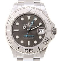 Rolex Platinum Automatic Grey No numerals 37mm new Yacht-Master 37