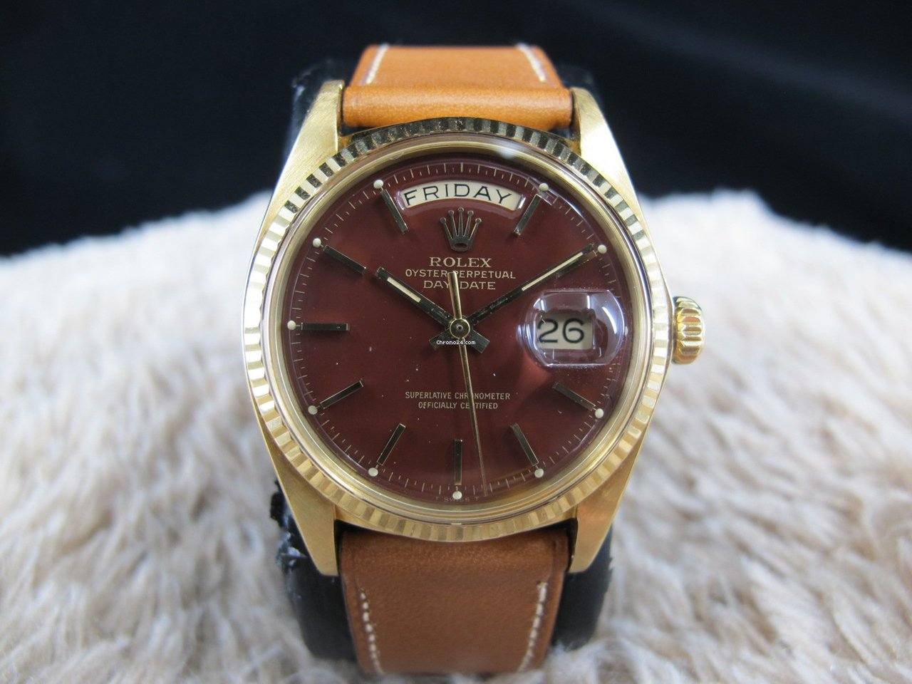 6cd6d92fb64 Rolex DAY-DATE 1803 18K Gold with Original Stella Oxblood Dial... for  $24,000 for sale from a Trusted Seller on Chrono24