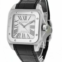 Cartier Santos 100 pre-owned 35.6mm Silver Leather