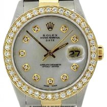 Rolex Date Men's 34mm White Mother Of Pearl Dial Gold And...