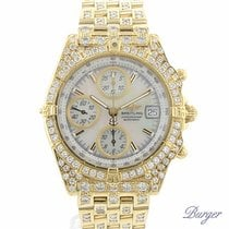 Breitling Chronomat 18K Yellow Gold Full Iced MOP Dial