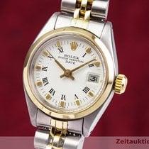 Rolex Oyster Perpetual Lady Date Aur/Otel 26mm Alb