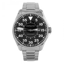 Hamilton Silver Automatic Black Arabic numerals 46mm pre-owned Khaki Pilot