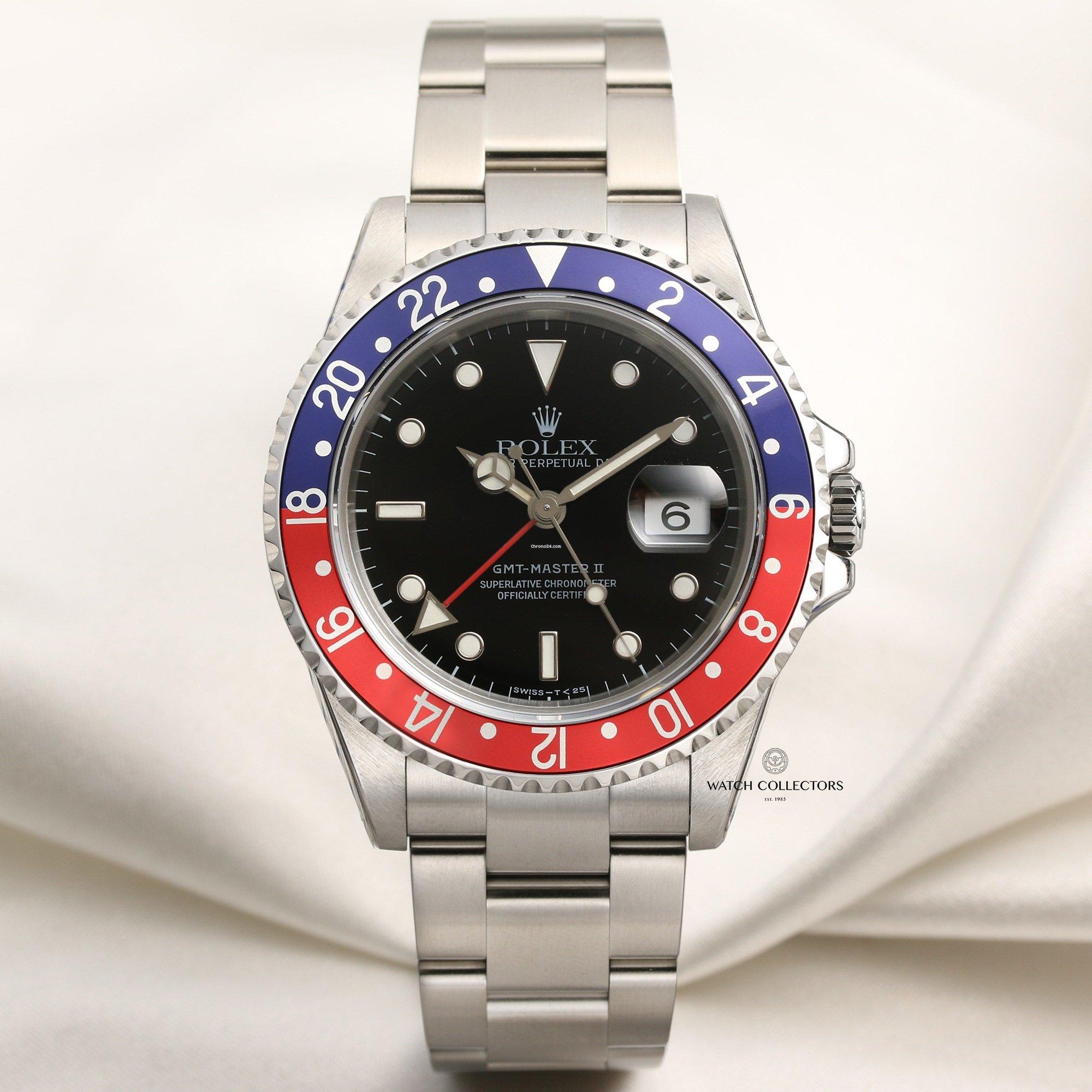 "8685b4235b8 Rolex Discontinued Rolex GMT-Master II 16710 ""Pepsi"" Stainless Steel"