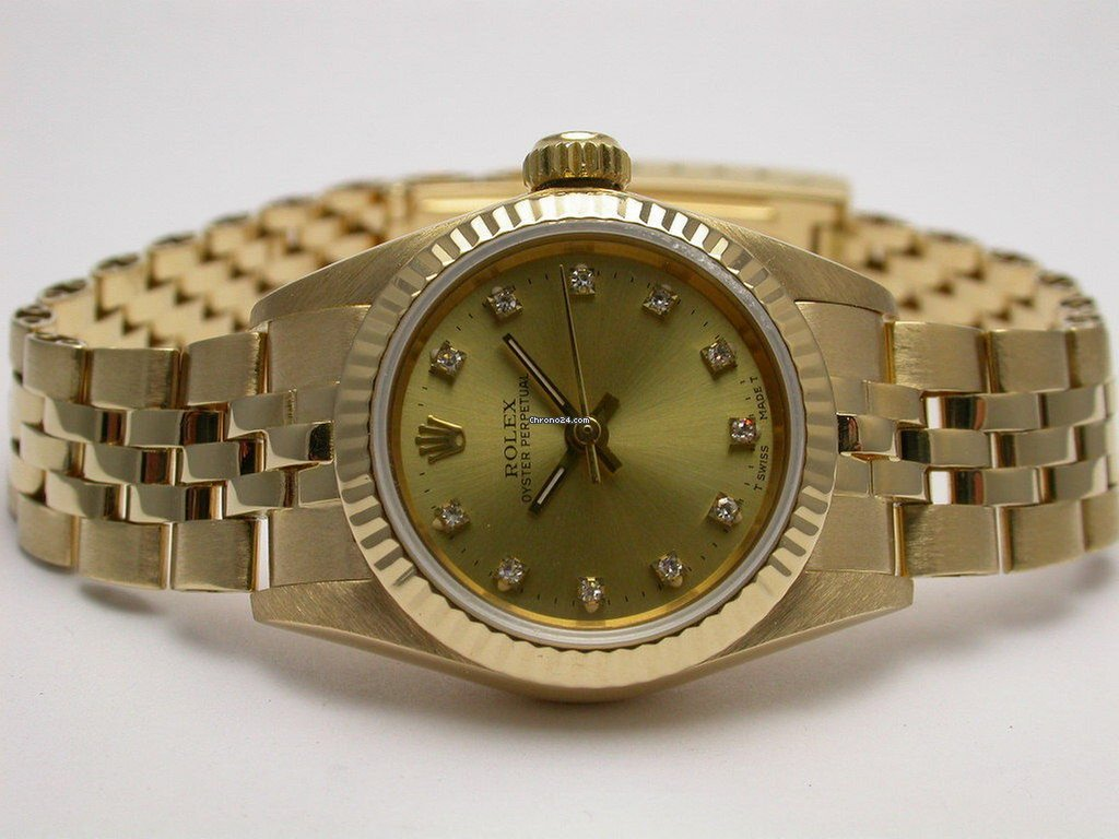 Rolex 67198 Oyster Perpetual 18k Yellow Gold Diamond Ladies... for ... 491562a62ca2
