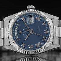 Rolex Day-Date 36 Or blanc 34mm Bleu Romain