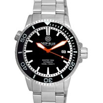 Deep Blue Master 1000 Diver 44mm Automatic Watch Black Bezel &...