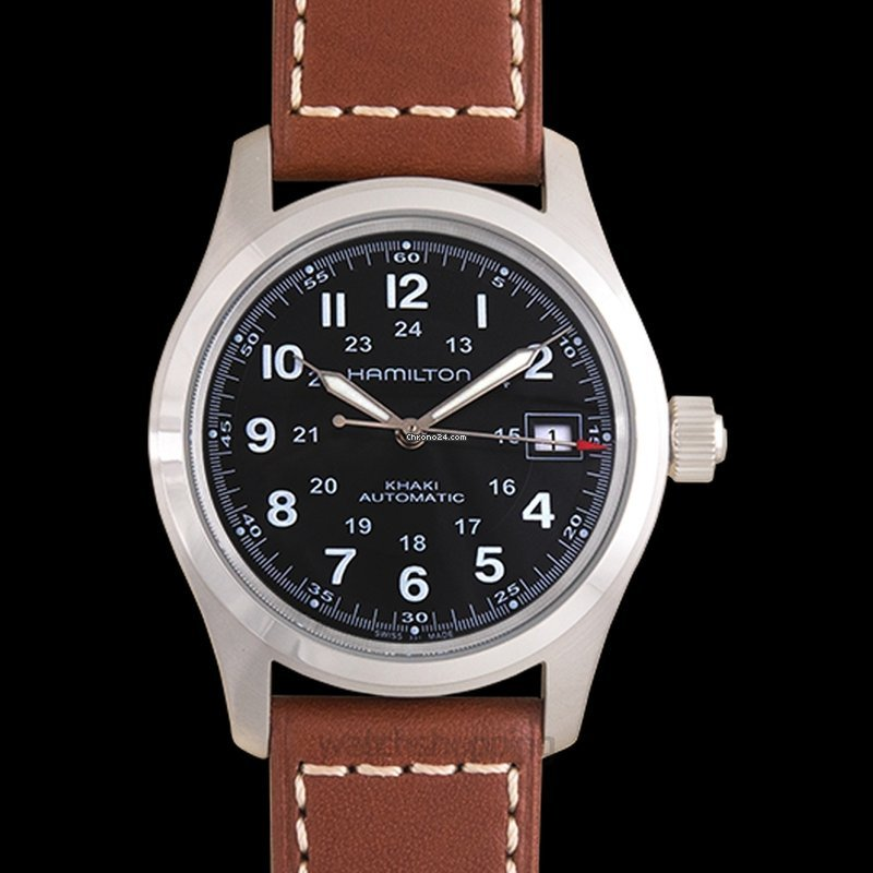096dc4cee Hamilton Khaki Field Auto Black Steel/Leather 38mm - H70455533 for £348 for  sale from a Trusted Seller on Chrono24