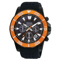 Pulsar PT3147 Men's Black Rubber Chronograph Orange Bezel...