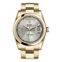 Rolex 118208 Day-Date Silver Dial Oyster Bracelet Yellow Gold