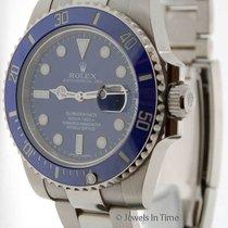 Rolex Submariner 18K White Gold Blue Ceramic Mens Watch...