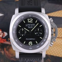 Panerai Luminor 1950 3 Days Chrono Flyback Acero 44mm Negro Arábigos