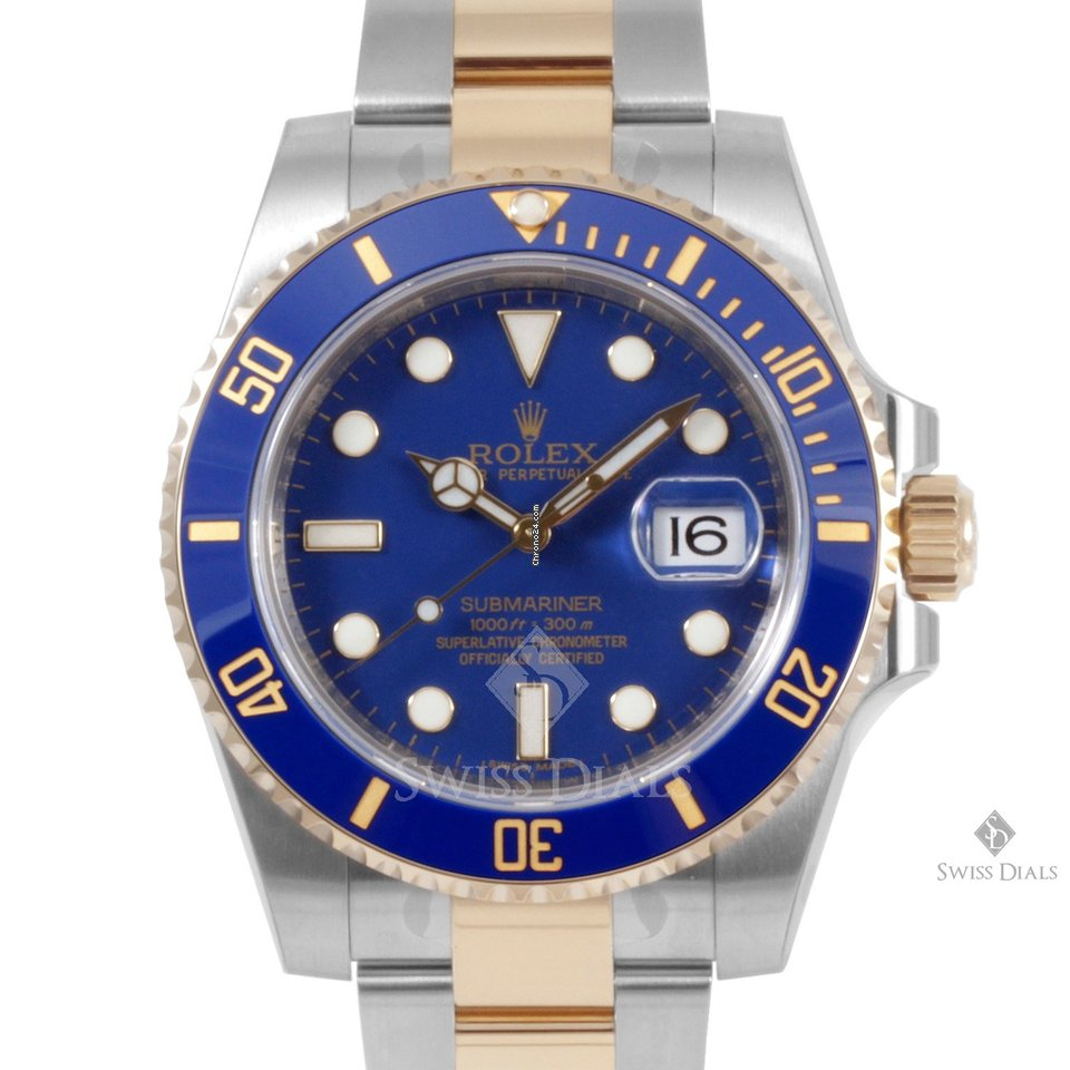 Rolex Submariner Steel and Gold Blue Dial Ceramic Blue 60min Bezel Oyster  Band New Style